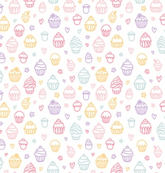 Cupcakes outlined colorful seamless pattern on vector image vector image