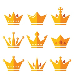 Gold crown royal family icons set vector image
