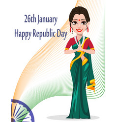 indian republic day greeting card with beautiful vector image vector image