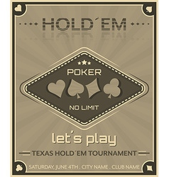 Poker background in retro style vector image