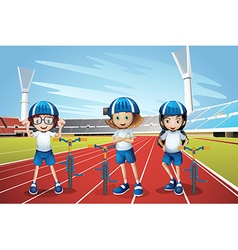 Three kids riding bike on the track vector