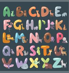 cute zoo alphabet with cartoon animals isolated vector image