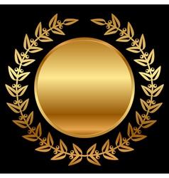 gold laurels on black vector image vector image