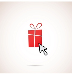 Present with computer arrow christmas and holiday vector image