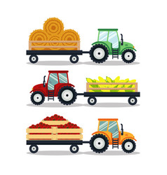 set flat tractors with a cart corn hay tomato vector image vector image