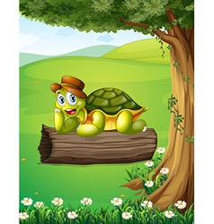 A turtle relaxing above trunk under tree vector