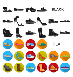 a variety of shoes flat icons in set collection vector image
