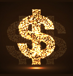 Abstract dollar sing glowing particles vector