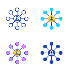 affiliate marketing icon set in flat and line vector image