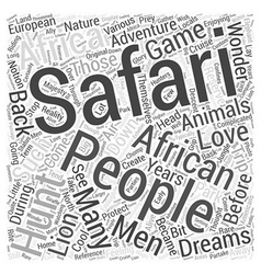 African hunting safari Word Cloud Concept vector