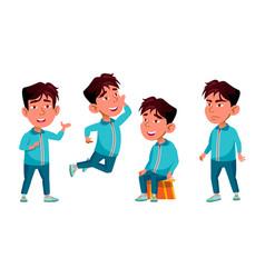 Asian boy kindergarten kid poses set vector