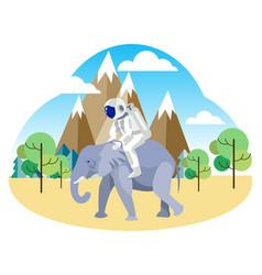 astronaut riding an elephant african safari in vector image