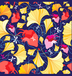 beautiful pattern ginkgo leaves and hearts vector image