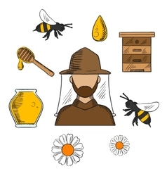 Beekeeping and apiculture symbols set vector