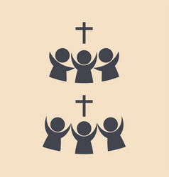 Believers united by jesus christ vector