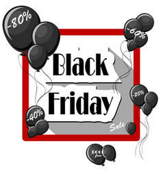 Black friday concept with black balloons and vector