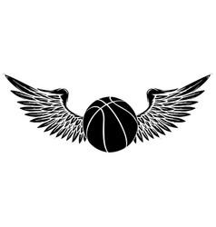 black silhouette basketball sport emblem vector image