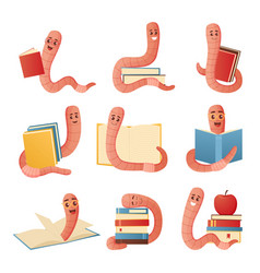 Book worm cartoon character in glasses with piles vector