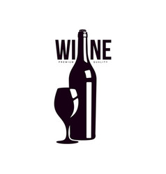 bottle of wine with glass icon vector image