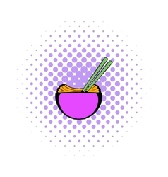 Bowl of rice with chopsticks icon comics style vector