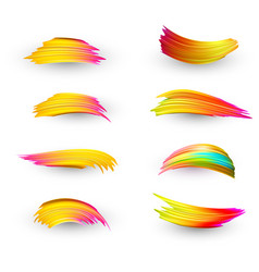 Bright gradient paint brush strokes set vector