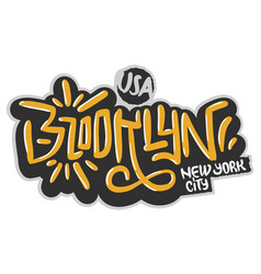 Brooklyn new york usa hip hop related tag graffiti vector