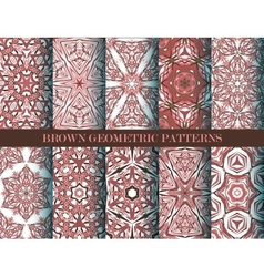 Brown geometric patterns collection vector