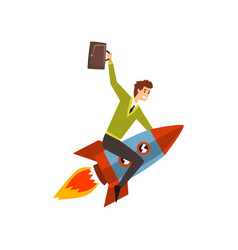 businessman on a rocket successful start up vector image