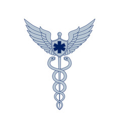 Caduceus with pilot wings emt star icon vector