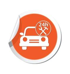 car with tools icon orange label vector image vector image