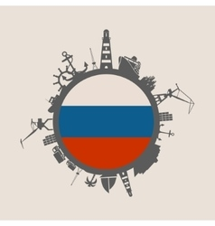 Cargo port relative silhouettes Russia flag vector image