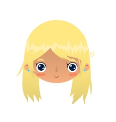 Cartoon blonde girl face vector