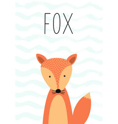 cartoon cute fox poster card vector image