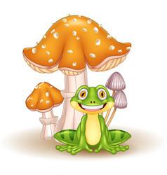 Cartoon funny frog with mushrooms vector