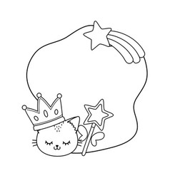 cat with crown and wand frame black and white vector image