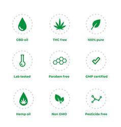 cbd oil hemp oil non gmo gmp certified vector image