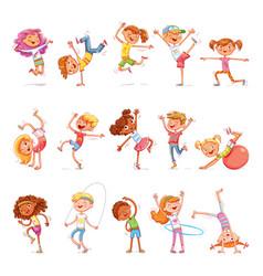 children sports fitness dancing breakdance vector image