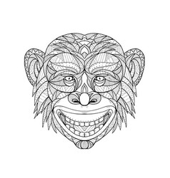 Chimpanzee head zentagle vector