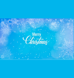 christmas greeting on snow background merry vector image