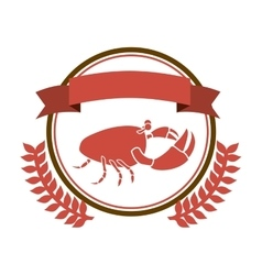 circular border with crown branch with crab and vector image