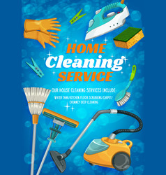 cleaning service clean house washing and laundry vector image