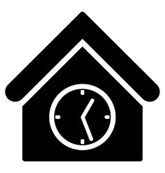 Clock Building Flat Icon vector