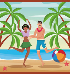 couple at beach vector image