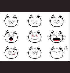cute black contour cat set funny cartoon vector image