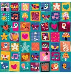 Cute flowers birds hearts pattern 2 vector