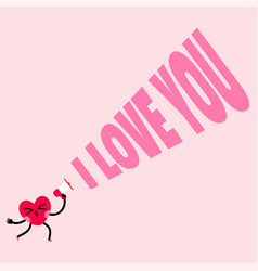 cute heart charater is shouting i love you vector image