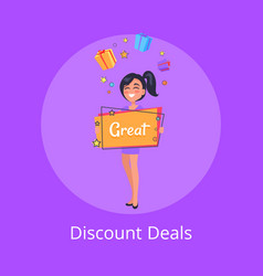discount deals poster with smiling girl dreaming vector image