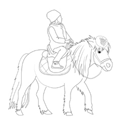 Drawing a girl on a pony vector image