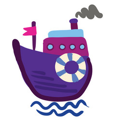 drawing of a purple steam boat or color vector image