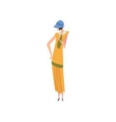 Elegant woman in retro dress and hat beautiful vector